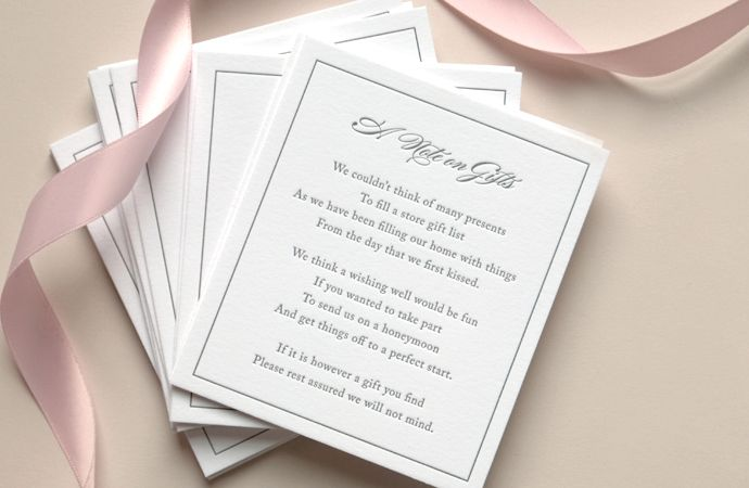 Wedding Invitation Wording For Monetary Gifts: A Letterpress Wishing Well Poem