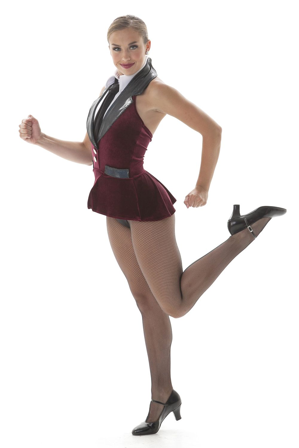 cfd78e4d8 Career girl dance costume. Perfect for a working girl theme, tap or jazz  dance! Peplum halter leotard has a suit and tie look.