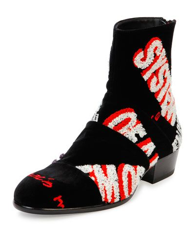 MAISON MARGIELA Embroidered Velvet Ankle Boot, Black. #maisonmargiela #shoes #boots