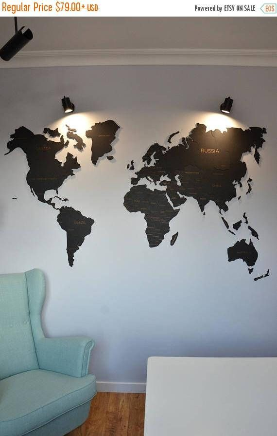 ON SALE Black Wall Map of the