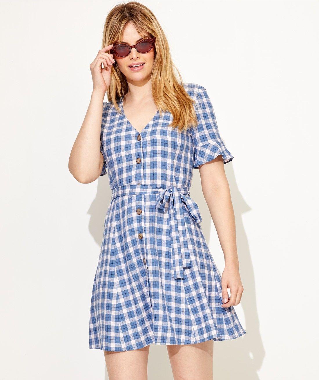 96eebaf9288 Linen Edit - Check Mini Linen Tea Dress - Clothing - Sportsgirl ...