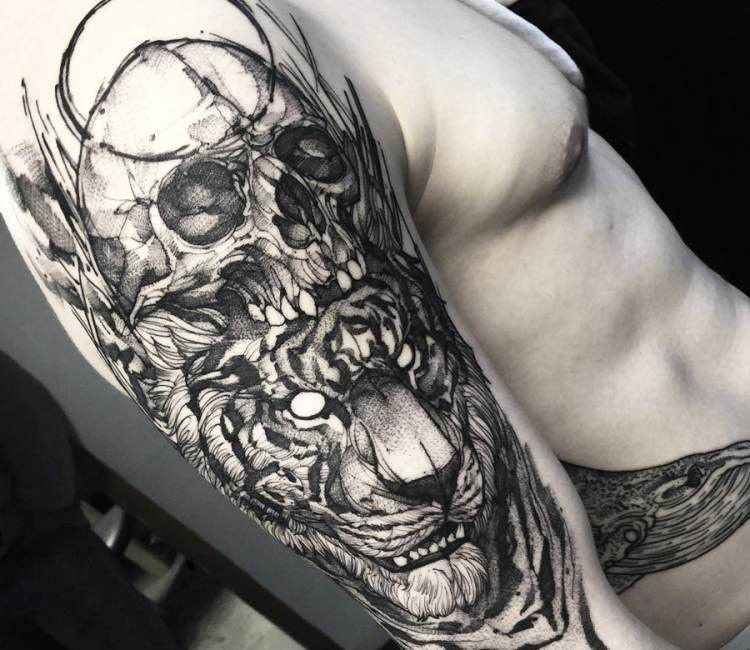 skull and tiger tattoo by fredao oliveira tatoos pinterest tiger tattoo tattoo and tattoo art. Black Bedroom Furniture Sets. Home Design Ideas