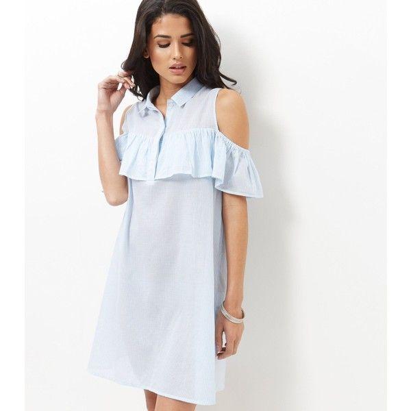 Frill Shirt Dress - Blue pattern New Look Popular gWJaYb
