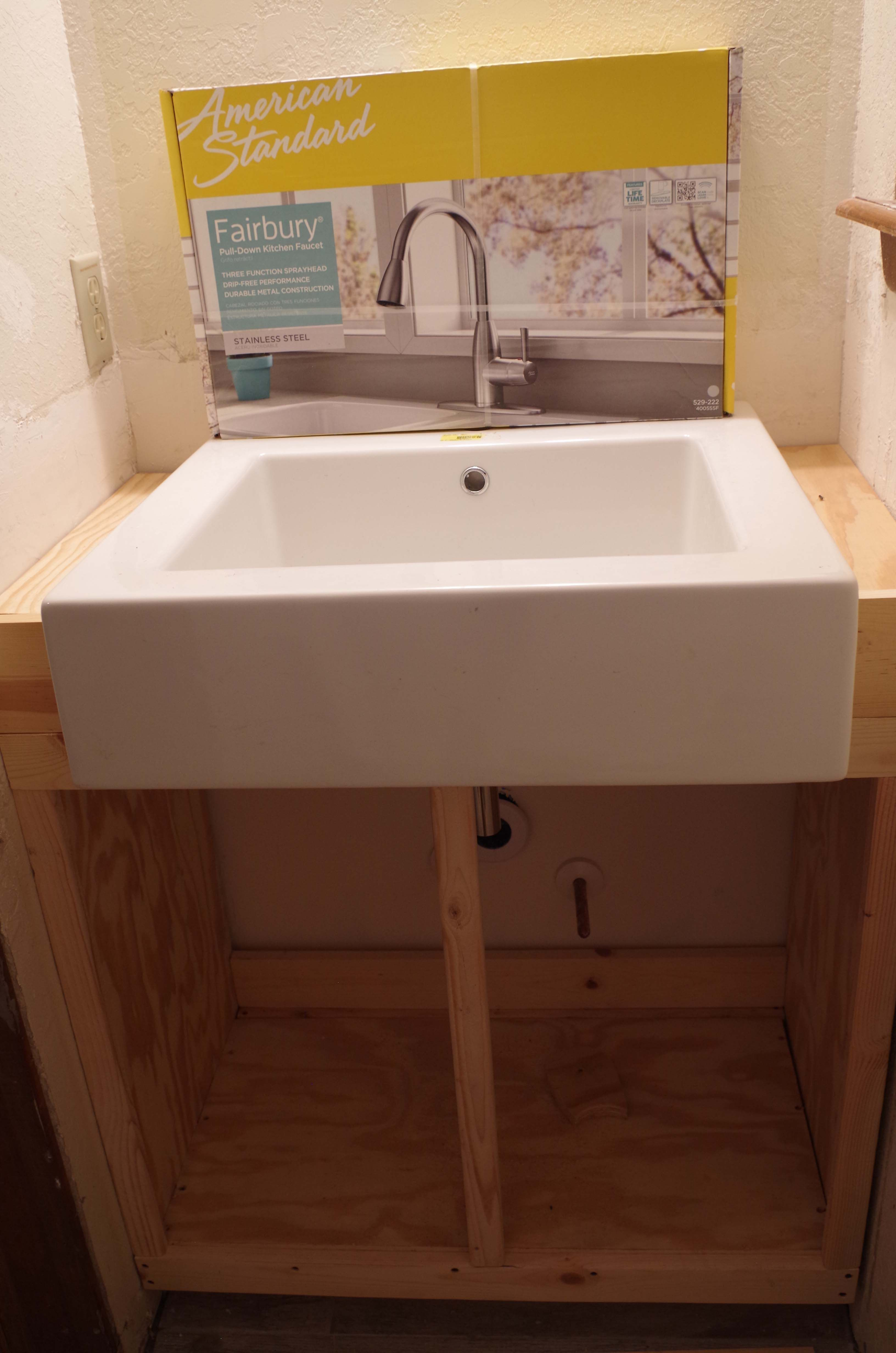 Custom Cabinet For Small Apron Sink In Washroom. Used Youtube For Cabinet  Modifications. Have