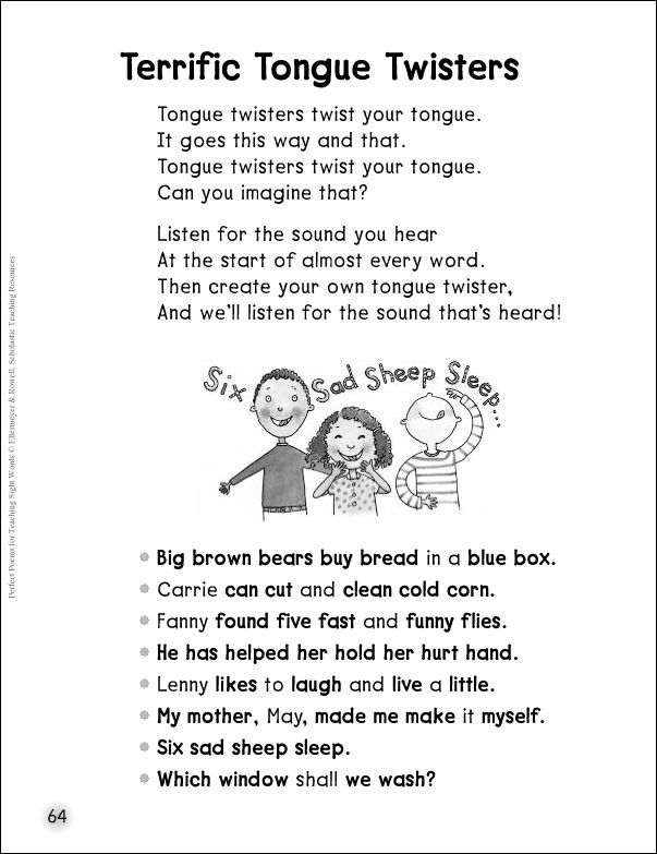 Tongue twister Poems |Tongue Twisters Poems