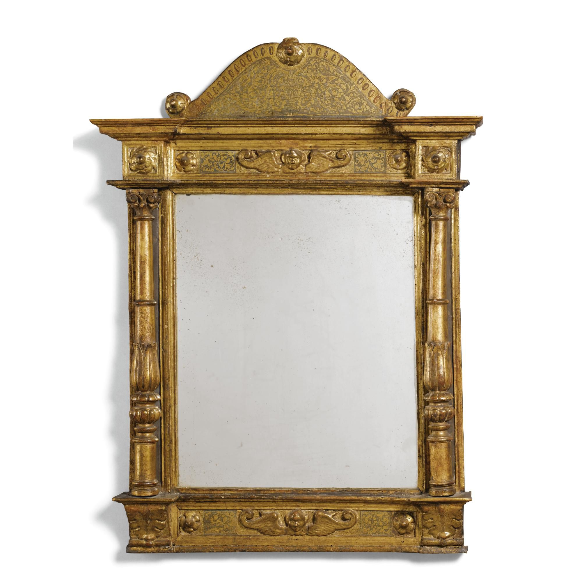 An Italian Painted And Parcel Gilt Tabernacle Frame Early 17Th Century