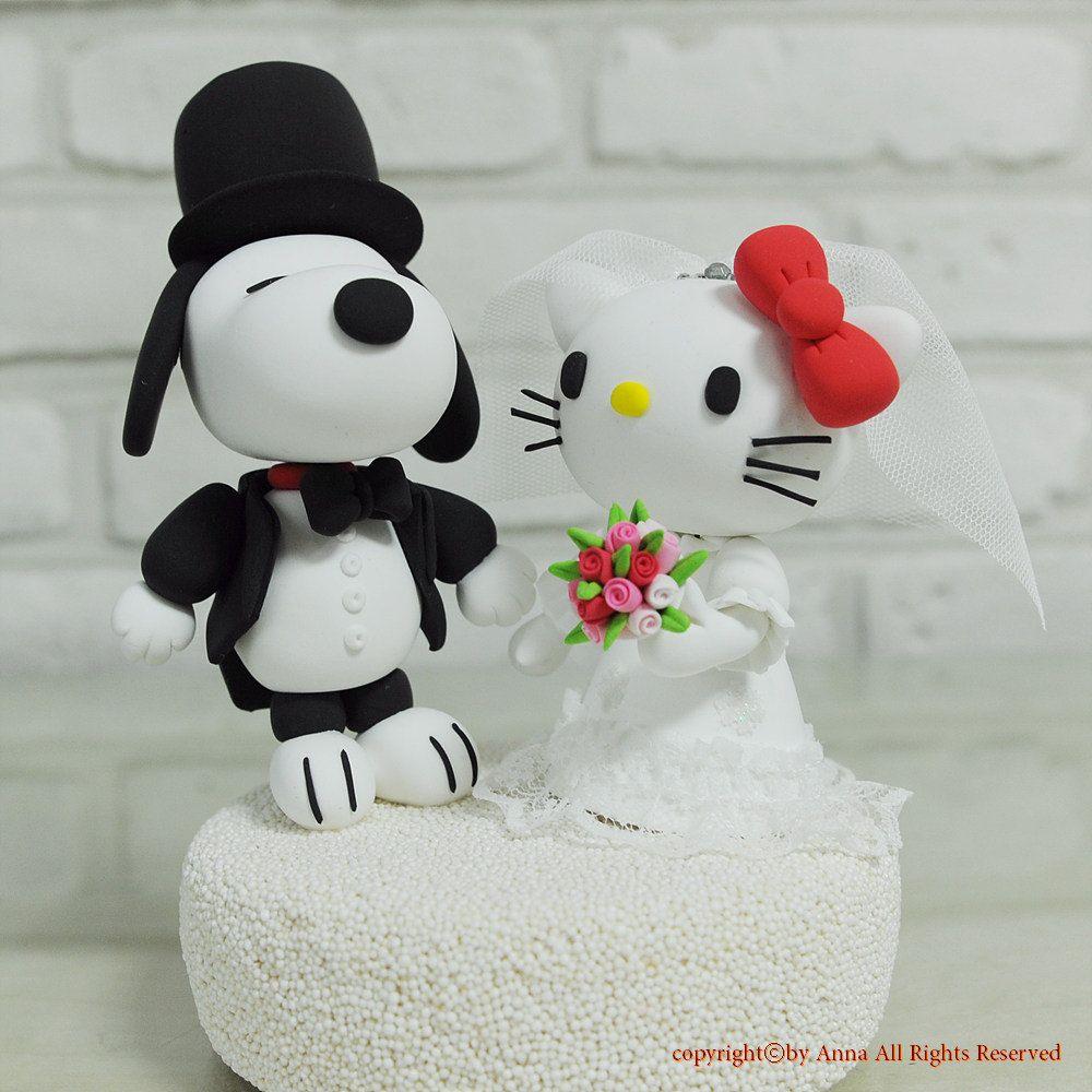 Snoopy and hello kitty custom wedding cake topper via etsy