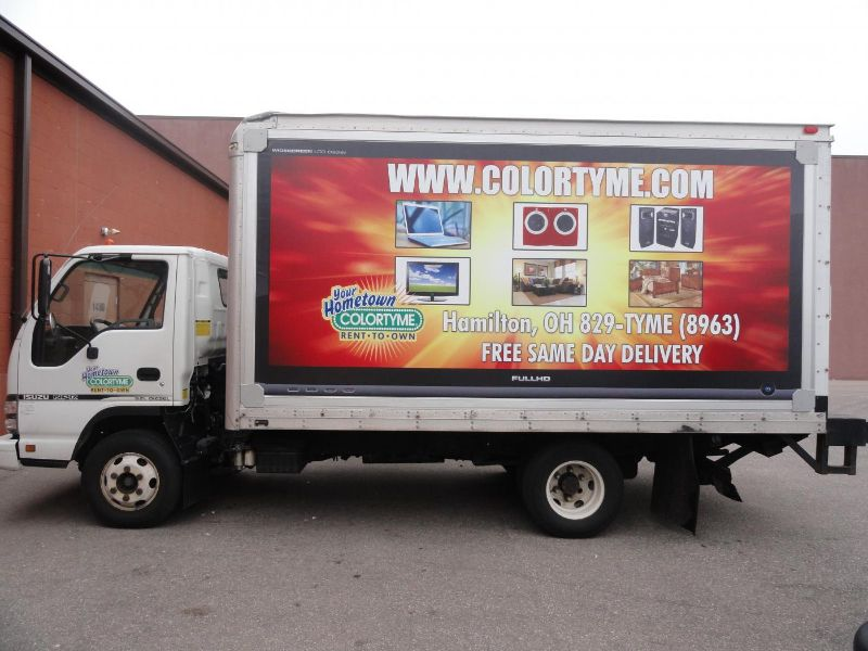 Colortyme Rent To Own Can Advertise All Of Their Promotions On Their Own Box Trucks Creating A Fleet Of Mobile Billboards Through The Us Trucks Fleet Hometown