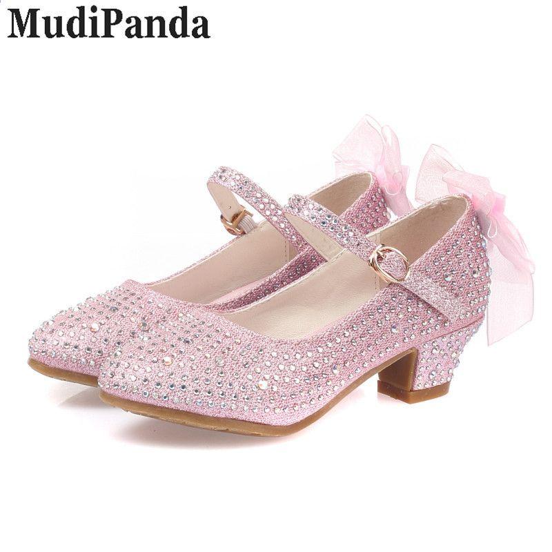 Mudipanda Sandaly Dla Dziewczynek Dzieciece Wysokie Obcasy Studenckie Buty Taneczne Baotou Bow Rhinestone Buty Princess Shoes Girls Leather Shoes Girls Sandals