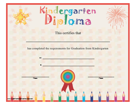 A brightly colored diploma for graduation from kindergarten ...