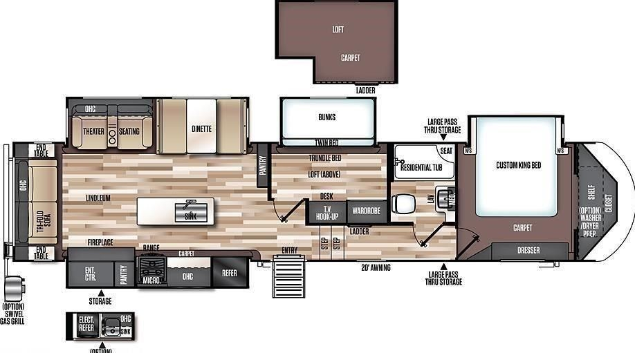 Image Result For Mid Bunk 5th Wheel Floor Plans Fifth Wheel Campers Bunk House Fifth Wheel