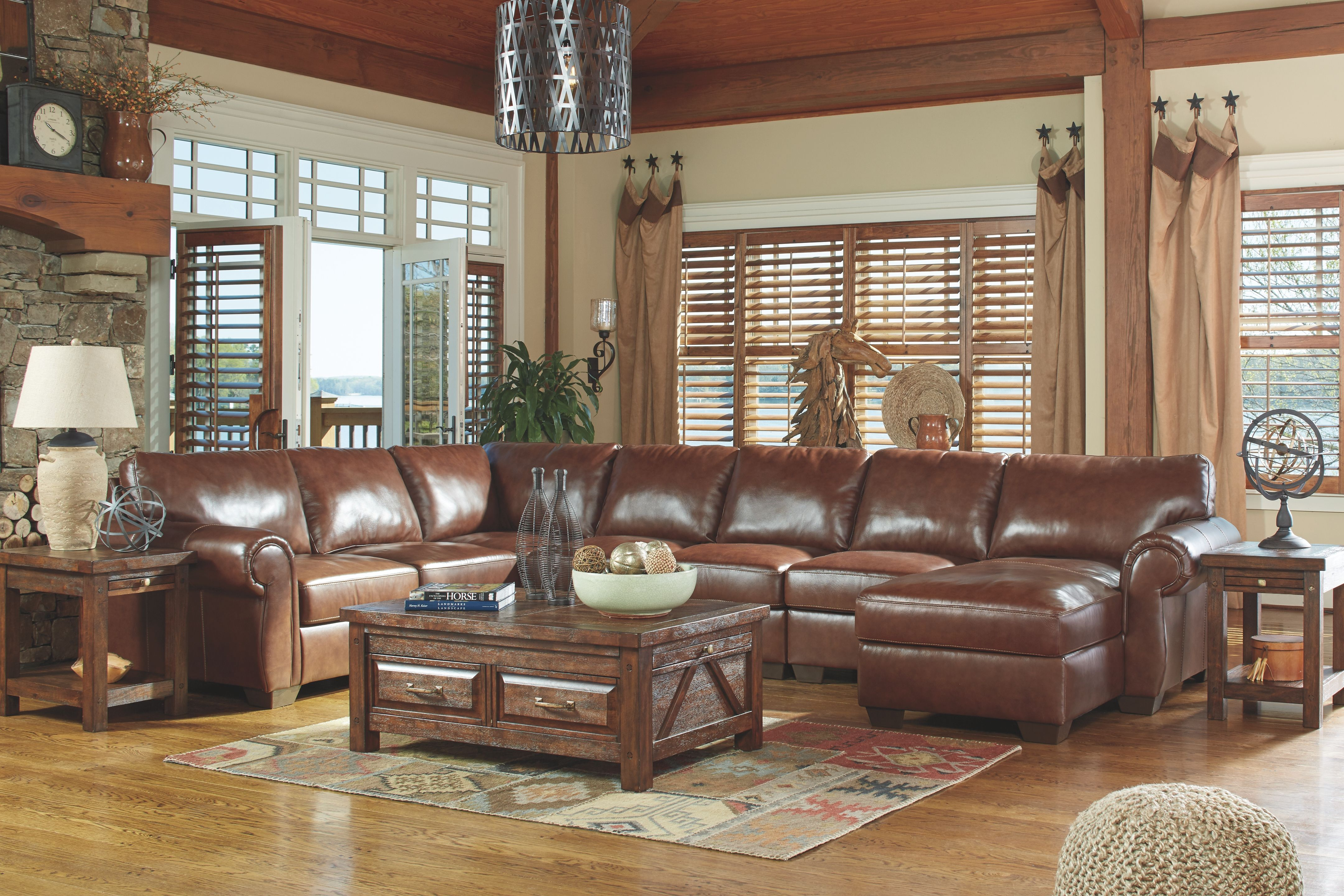 Best Lugoro 5 Piece Sectional Saddle Leather Living Room Set 400 x 300
