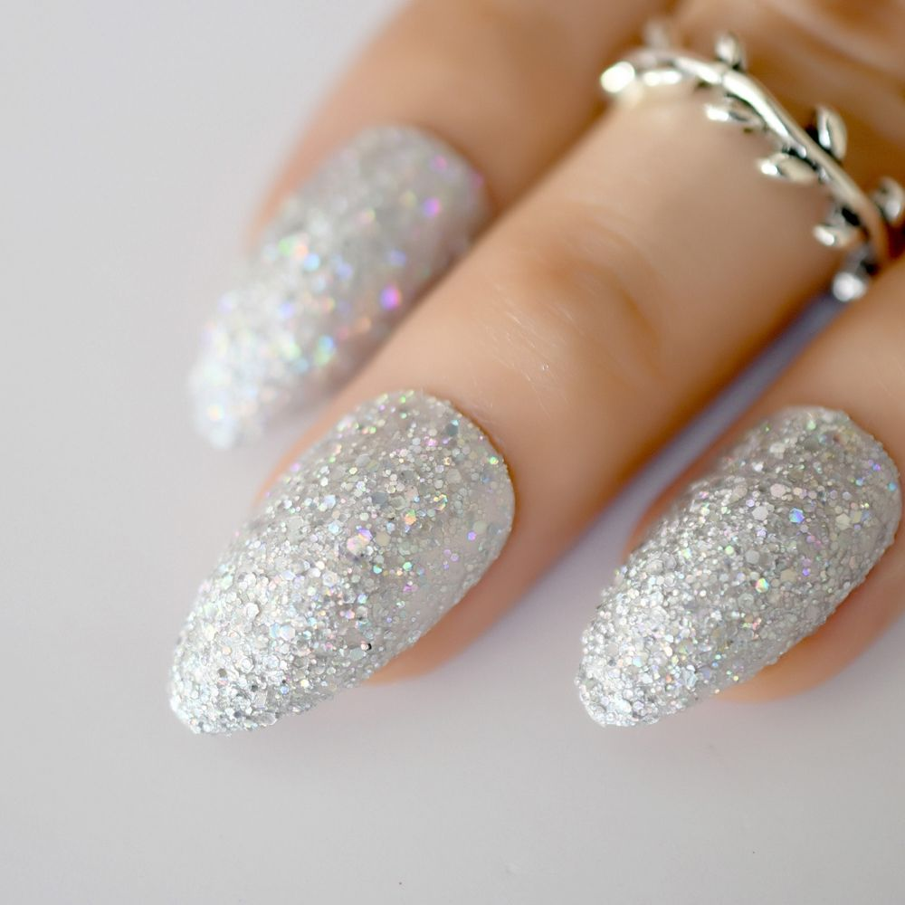 Long Stiletto pink holographic glitter press on nails with
