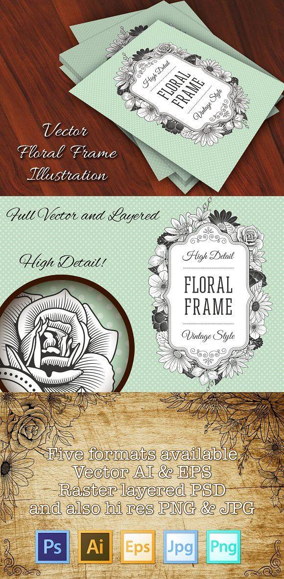 bridal shower invitations vector free%0A Vector Vintage Flower Label  Wedding Card Templates