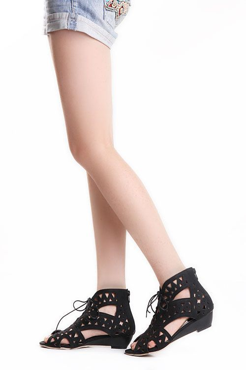 be81d28e1e3aa Fashion Cutouts Lace Up Sandal | online shopping. | Low wedges, Lace ...