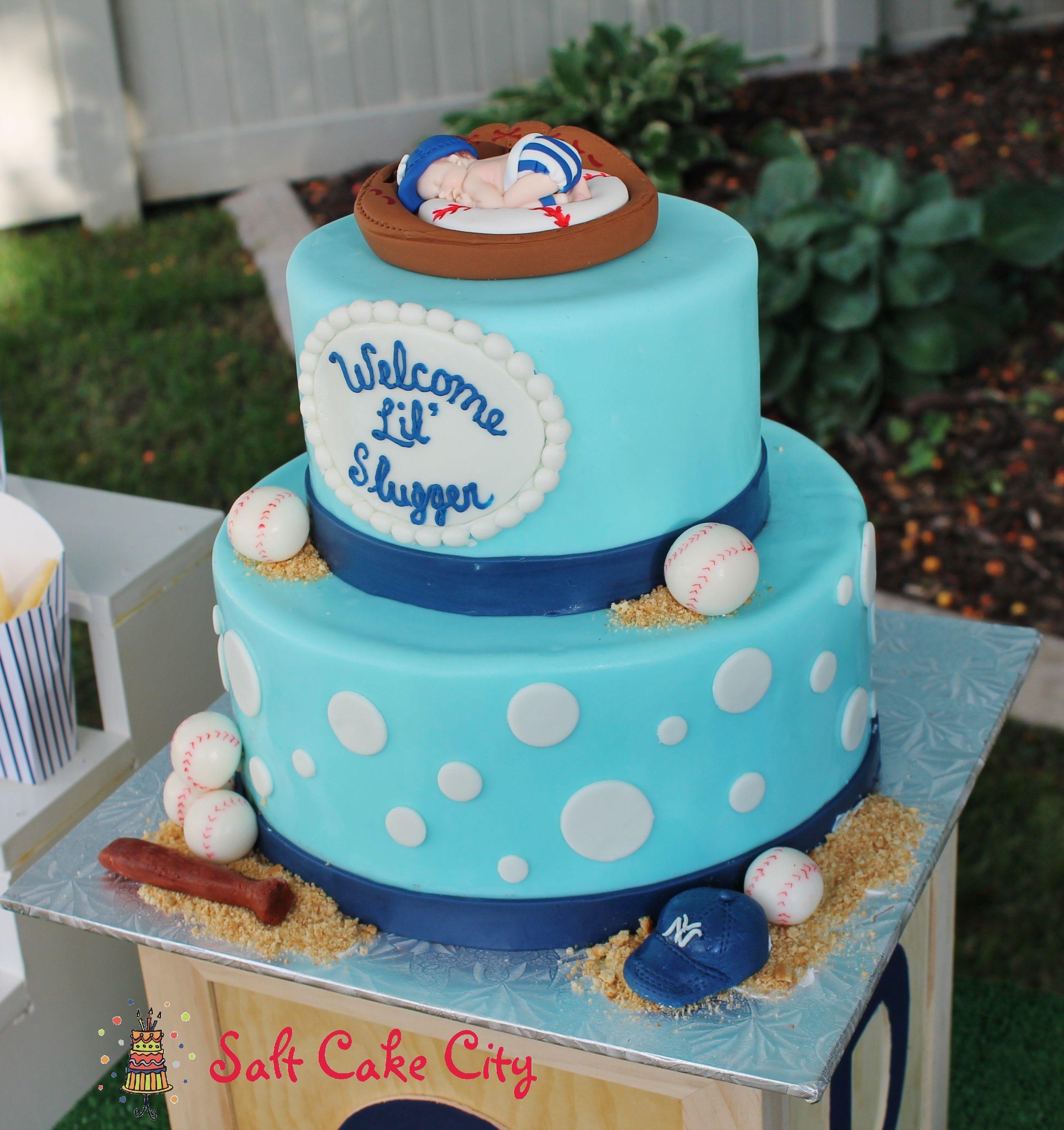 Cake ideas on pinterest pirate cakes marshmallow fondant and - Baseball Themed Baby Shower Cake Baby Blue Yankees Baby Shower Cake With Marshmallow Fondant Baseballs Hat And Ball