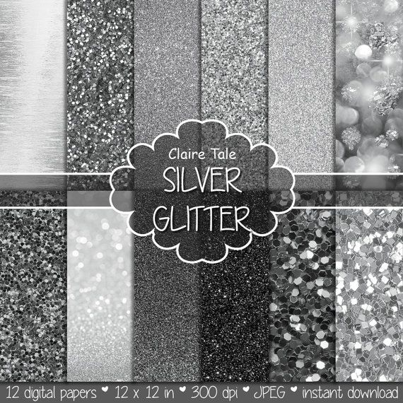 """Silver digital paper: """"SILVER GLITTER""""  silver paper backgrounds with shiny texture in different shades of silver / silver  backdrop"""