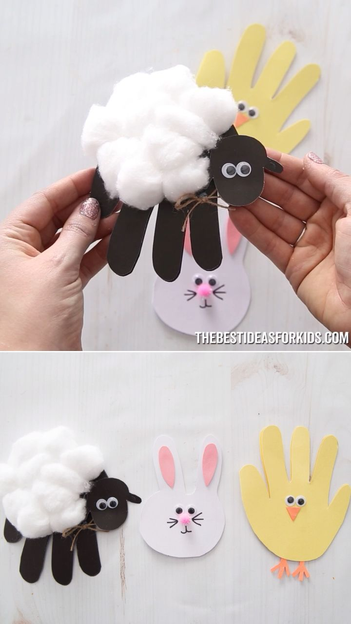 EASTER HANDPRINT CARDS 🐰🐥🐑 - such a cute Easter craft for kids! Kids will love to make these Easter Cards. #bestideasforkids
