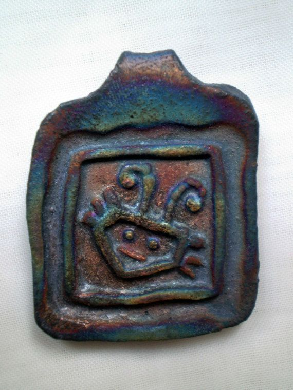 Raku Fired Cute Bug Focal Bead Handmade by spinningstarstudio, $4.00