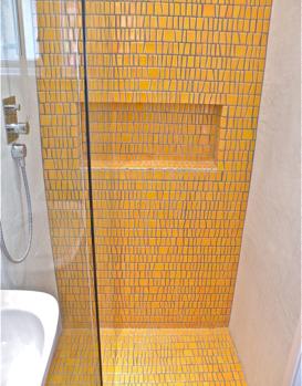 small bathroom design yellow shower. Mosaic Toki Ceramica di ...