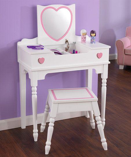 White Heart Two-Piece Vanity Set | RAE | Vanity stool, Kids ...