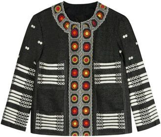 ShopStyle: Anna Sui Embroidered Denim Jacket