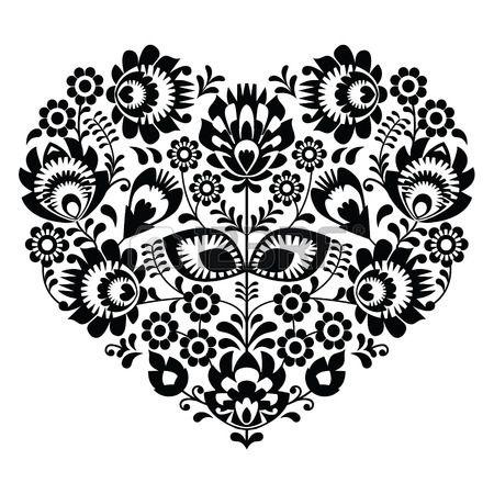 Polish Folk Art Heart Pattern In Black - Wzory Lowickie, Wycinanka ...
