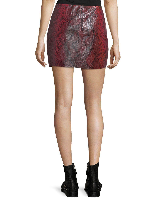 2da1ef01fb52 Alice + Olivia Elana Printed Lamb Leather Mini Skirt   Products ...