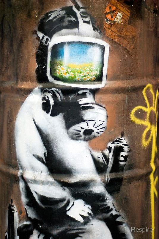 Gas Mask Girl Wallpaper Sunflower Field Gas Mask Girl By Banksy At Hmv London