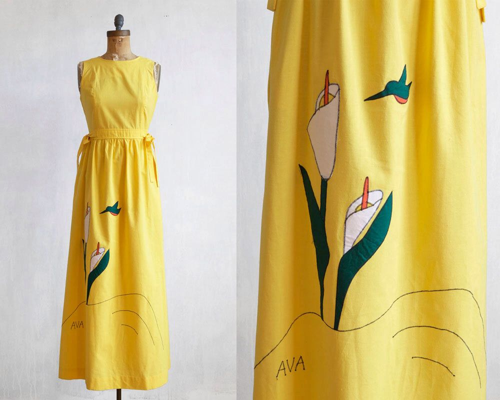Vintage Yellow Maxi Dresshippie Dress With Embroidery70s Long