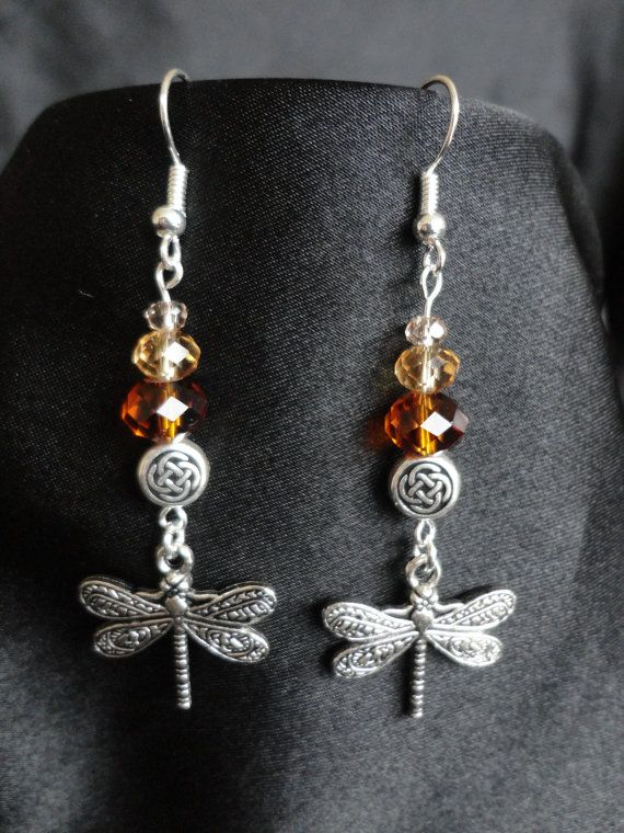 Outlander Inspired Earrings, Silver French Hooks, Crystals, a cute little Silver Plated Celtic Knot Spacer and a lovely engraved Dragonfly Charm.