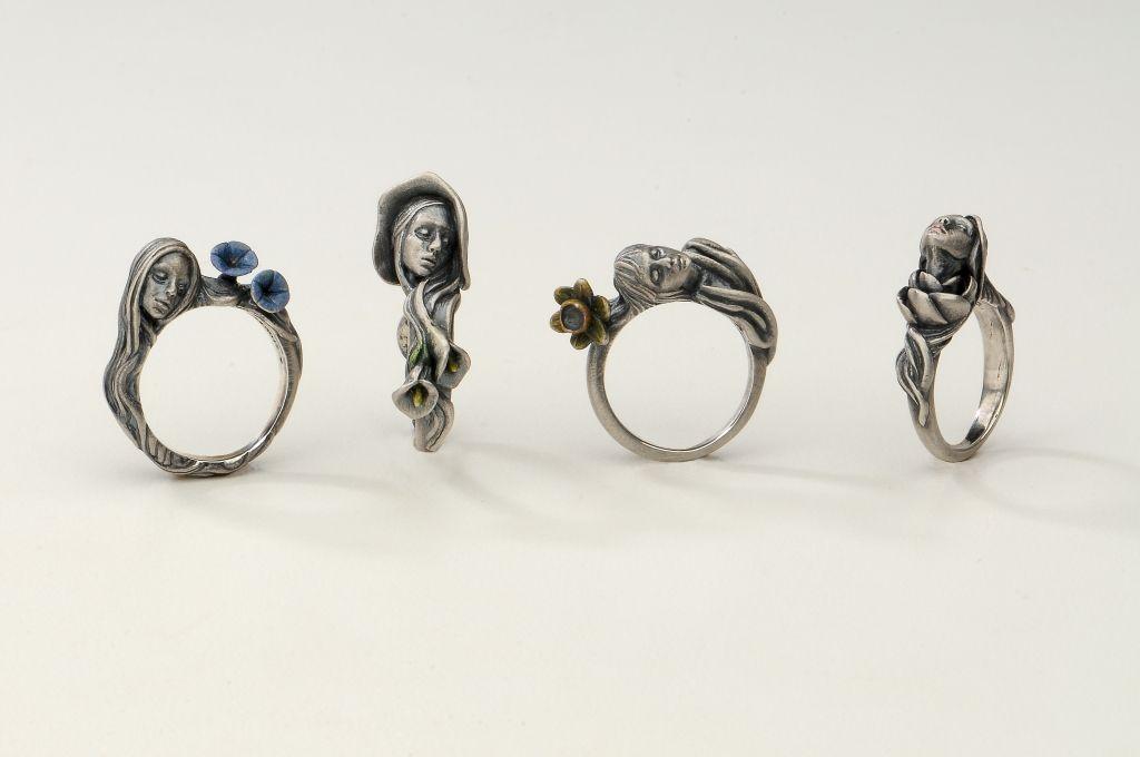 YURI TOZUKA ASAGAO, CALLA, SUISEN, ROSE, RINGS  Sterling silver  Asagao: Size 7, Calla: Size 6.5, Suisen: Size 6.5, Rose: Size 6