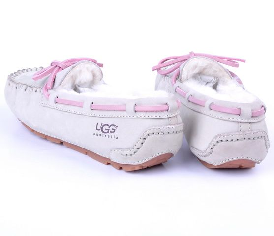 White & Pink Fuzzy UGG Slippers