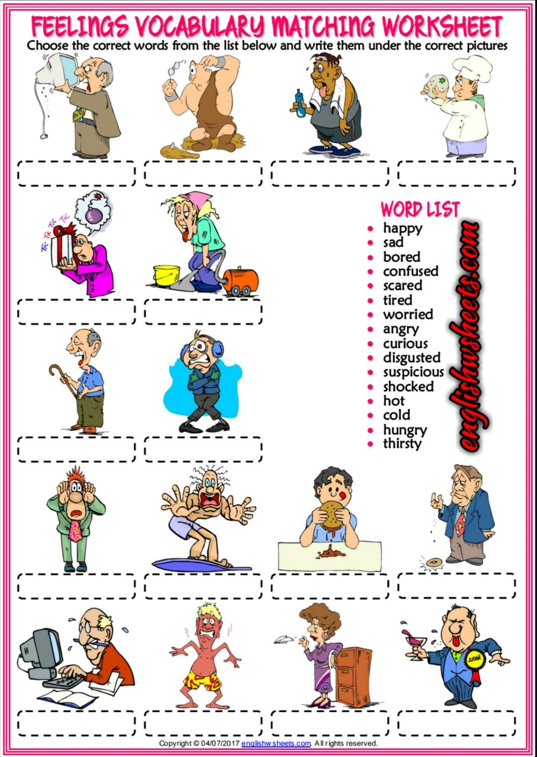 Feelings Emotions Esl Printable Vocabulary Matching Exercise Worksheets For Kids