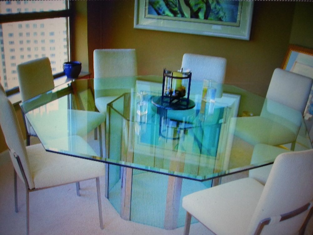 Octagonal 96 inch glass dining room conference table with for Dining room tables 96