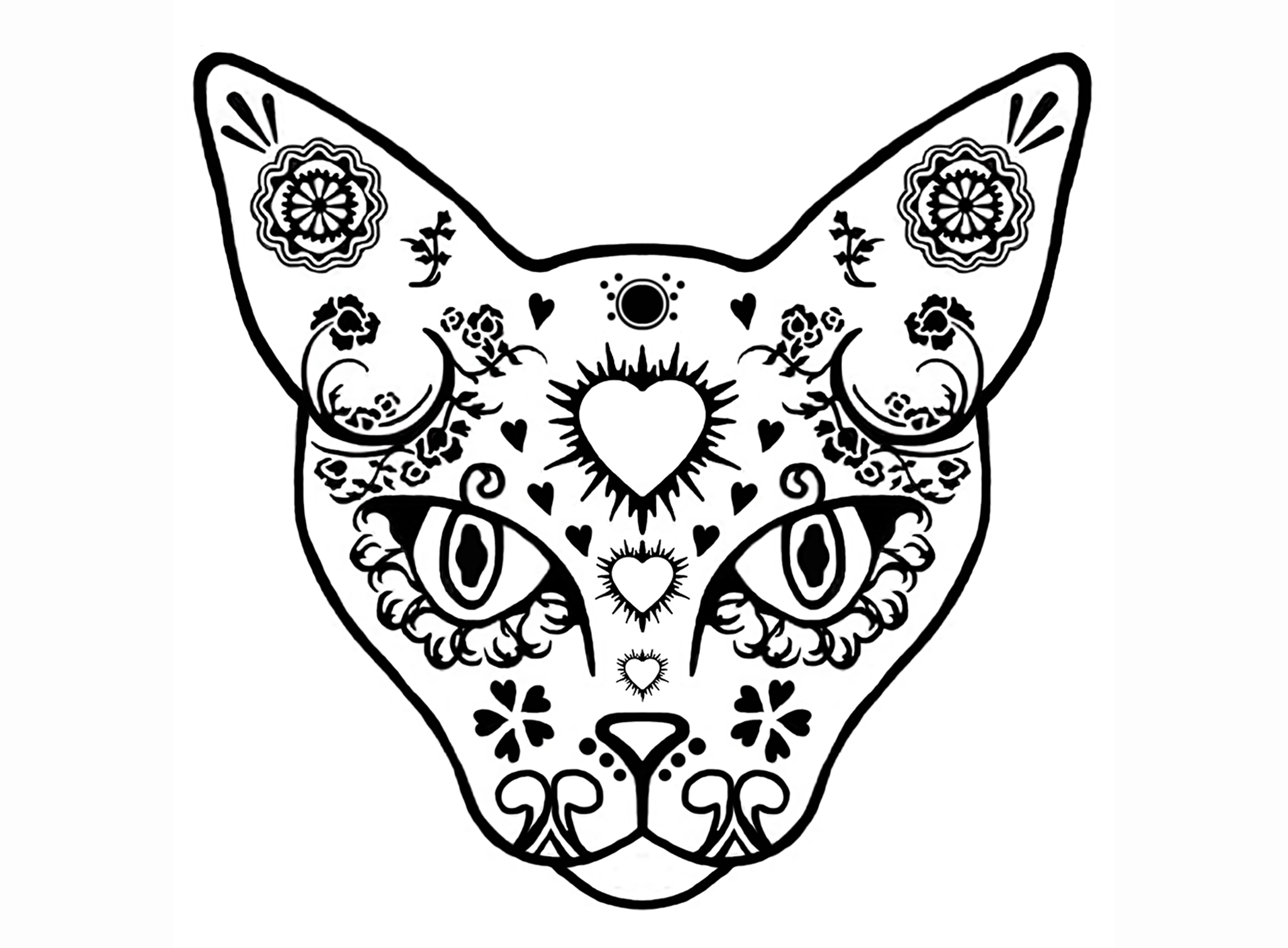 Cat Sugar Skull 2 Pcs 3 Black 651 Or White 600 Fused