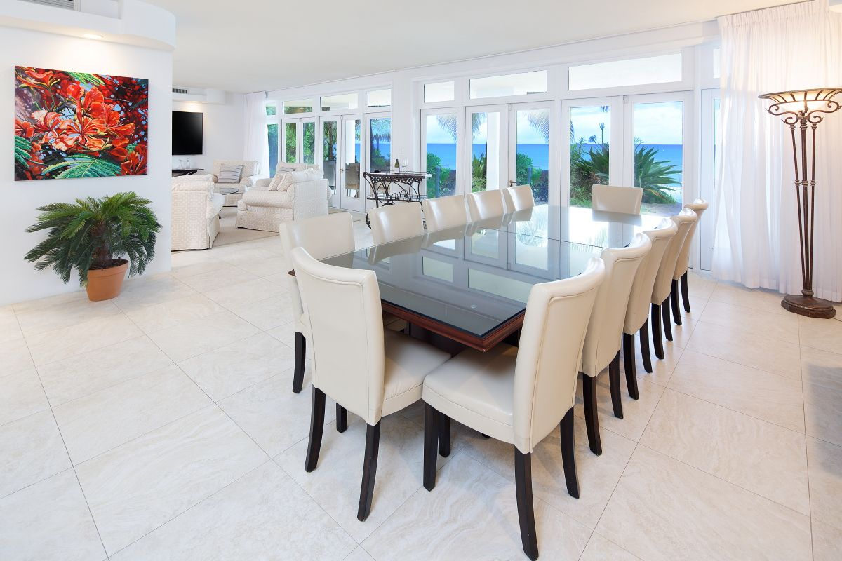 Dining Room In Seascape, A Beachfront Villa For Rent On Grand Cayman.