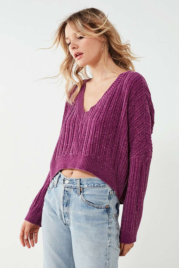 d4f1ba1f0 The  90s are alive and well in this high low chenille sweater from ...