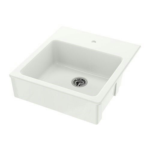 Ikea Domsjo Single Bowl Apron Front Sink White 25x27 Apron