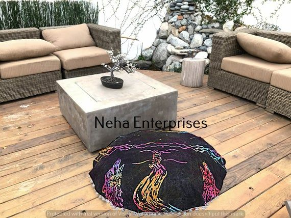 Large Meditation Cushion | Pouf Ottoman | Mandala Pouf Cover | Bohemian Seating Cover | The Moon Pri