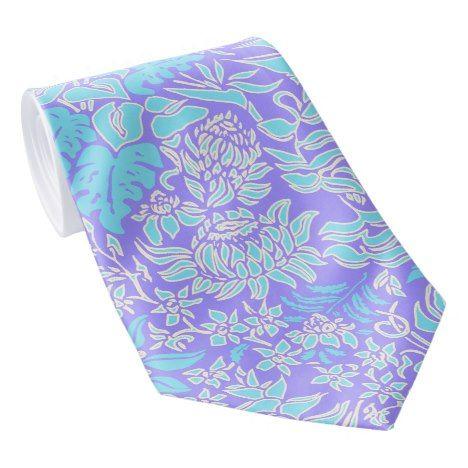 Kauai Morning Hawaiian Protea Floral Tie Zazzle