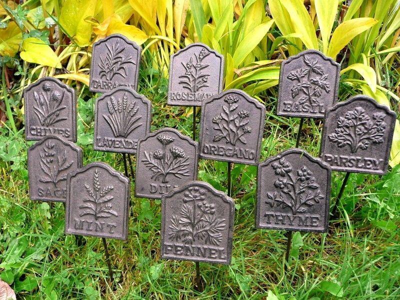 Cast Iron Metal Herb Garden Plant Marker Sign Set 12 Stake Yard Patio Home Decor Ebay