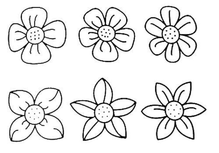 Small Flower Coloring Pages Simple Flower Drawing Easy Flower
