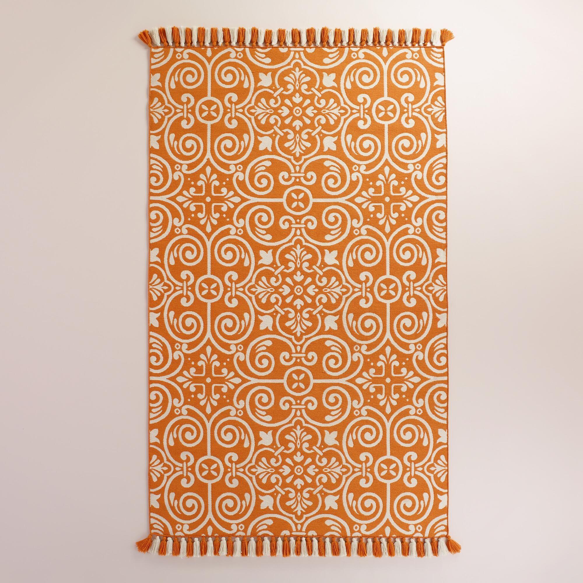 Good $300, Outdoor Rug Orange Barcelona Tiles Indoor Outdoor Rug | World Market