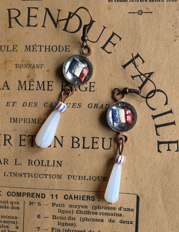 Französische Ohrringe Vintage Tiefdruck rot von ChezSylvieinFrance