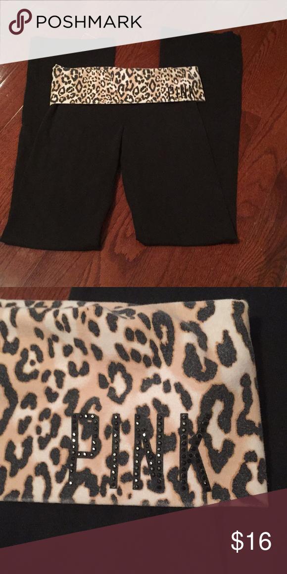 15803c1a53a27 PINK leggings Fun Leopard print! Like new! PINK Victoria's Secret ...