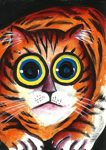 "2013 ORIGINAL ACEO PAINTING ""BIG BLUE EYES TABBY"" ARTWORK BY AniTa"