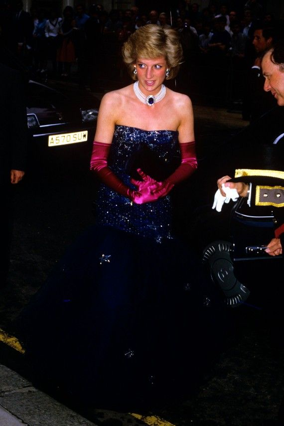 Diana wore this dramatic navy gown for dinner with the President of Greece at Claridge's Hotel in 1986.