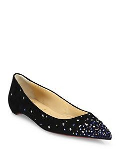 buy popular 610be a10ee Christian Louboutin - Gravitanita Star Stud Suede Flats | KN ...