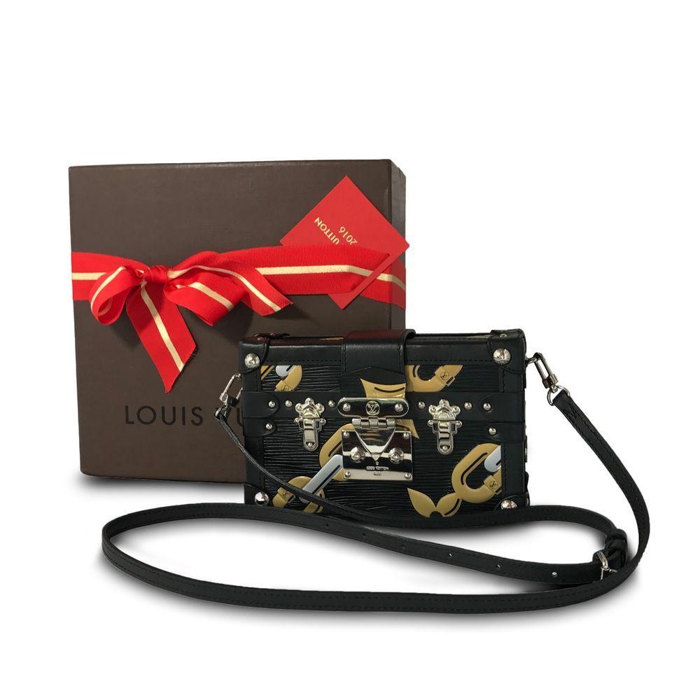 f430ced2fdbc Authentic Louis Vuitton Epi Chain Flower Petite Malle Black Crossbody  Clutch